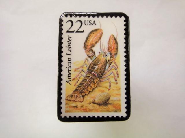 アメリカ 切手ブローチ1068