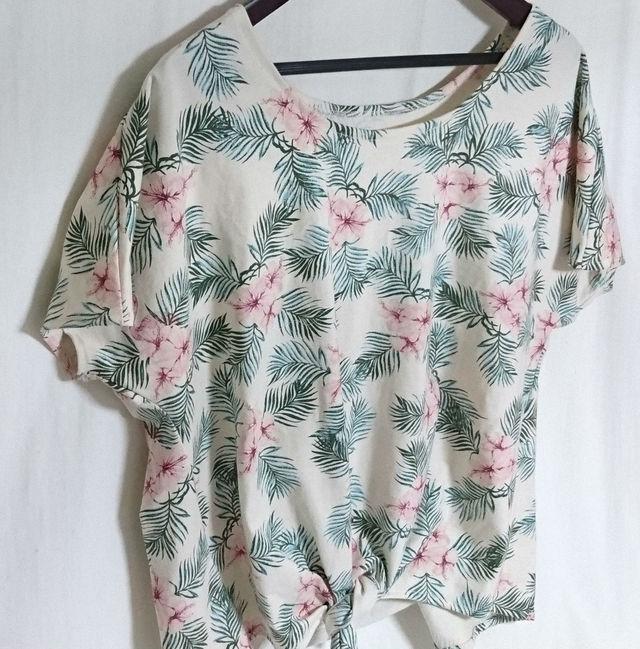 南国フラミンゴ柄結うTシャツ サイズL