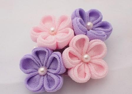 つまみ細工 薄ピンクと薄紫 2W