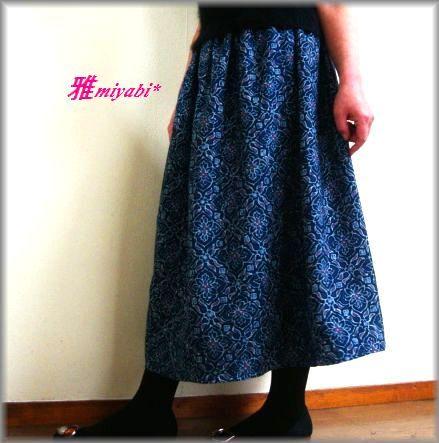 裏付和柄木綿のふんわり長め着物スカート