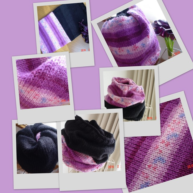☆彡段染め毛糸で、6WAYタイプのネック&ニット帽&フード帽
