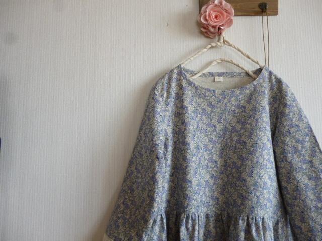 綿麻花柄の切り替えギャザーチュニック袖裾レース