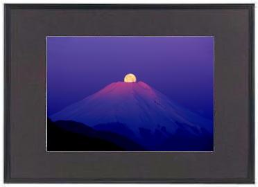 「富士山12014」 Fuji&Moon DNP アルミ額ギャラリー ブラック A3ノビ