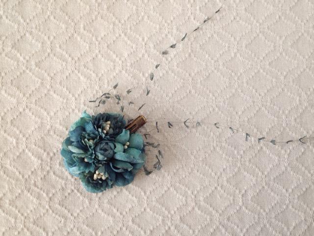 染め花のミニクリップ(ブルーグリーン)