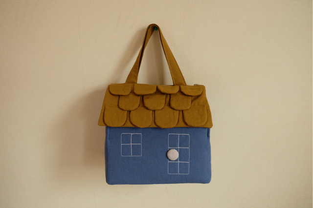 OUCHI box bag M 淡ブルー