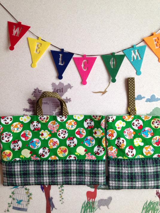 《セール♪》緑?パンダ&タータンチェック 切り替え  レッスンバッグ&上履き袋