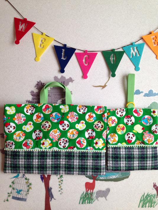 緑?パンダ&タータンチェック切り替え  レッスンバッグ&上履き袋