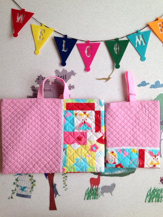 《SALE》お姫様とピンクのドット切り替え レッスンバッグ&上履き袋