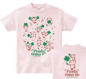 パンダとクローバー【両面】 WM〜WL?S〜XL Tシャツ【受注生産品】