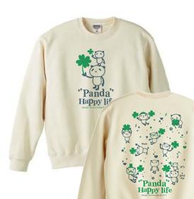 パンダとクローバー【両面】 トレーナー【受注生産品】