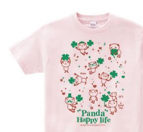 パンダとクローバー【片面】 WS〜WM?S〜XL Tシャツ【受注生産品】