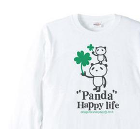 パンダとクローバー【片面】 長袖Tシャツ【受注生産品】
