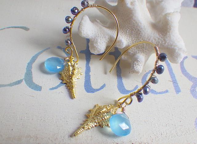 Seashell and pearls    シーブルーカルセドニー  ヴェルメイユ