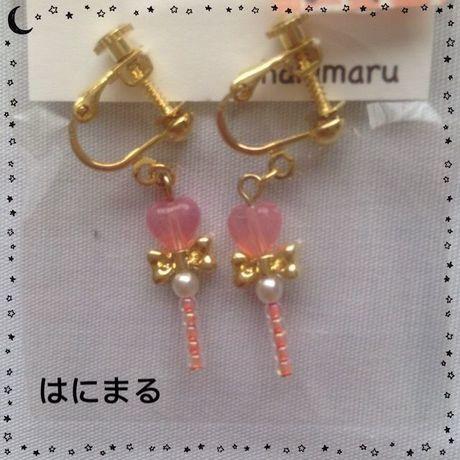 Xmasセール★193 イヤリング 薄ピンク/ゴールドリボン 小