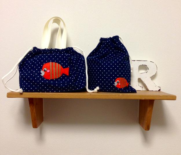 お魚親子のお弁当袋&コップ袋セット