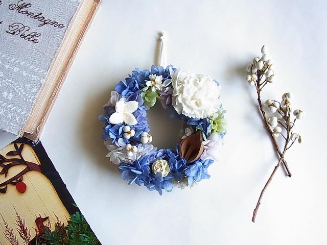 ミニリース  ブルー&ホワイト