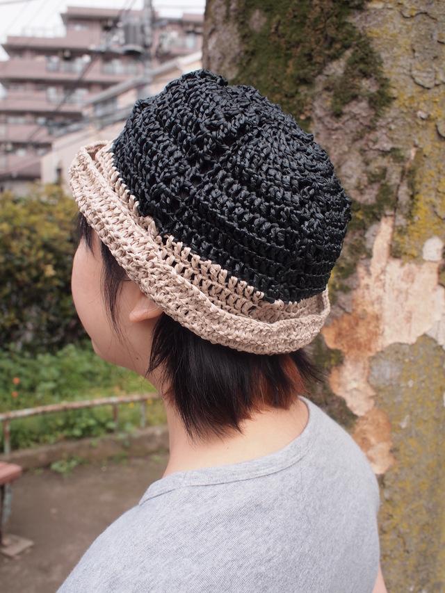 夏涼透け編みツートンハット【黒】