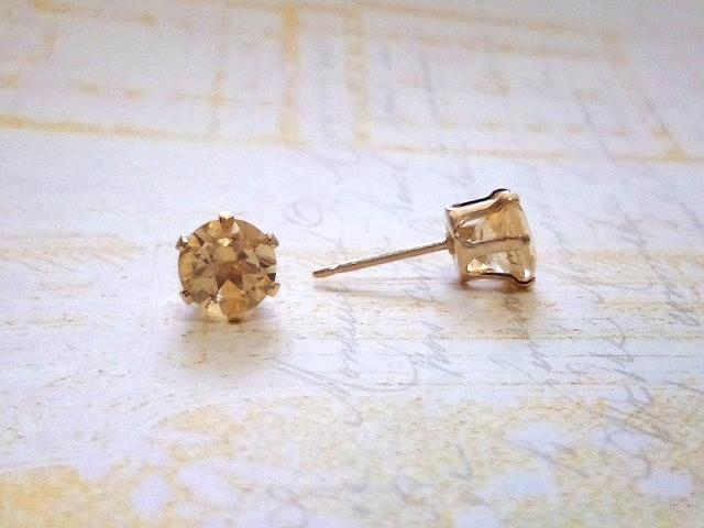 宝石質シトリン6mm* Natural stone*ピアス  14KGF