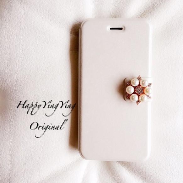 【iphone6/6S】お花ビジュー手帳型ケース【白小6】