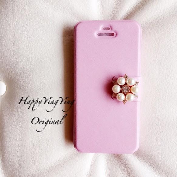 【iphone5/5S/SE】お花ビジュー手帳型ケース【Pink小5】