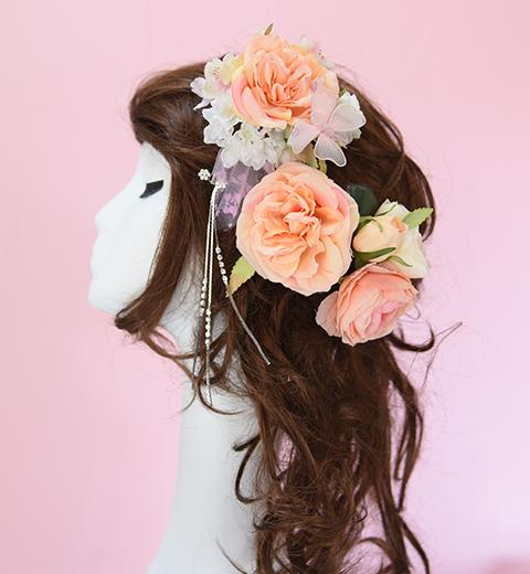 オレンジの野バラの髪かざり(3点セット)
