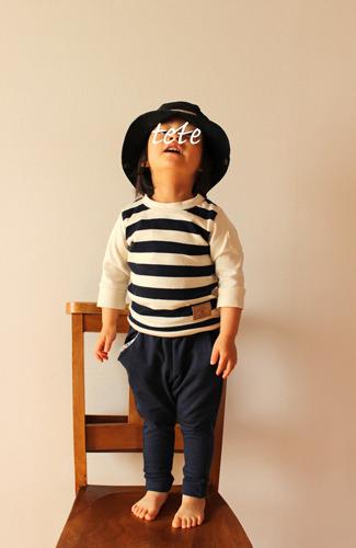 【size80】キッズTシャツ太ボーダー(七分袖)