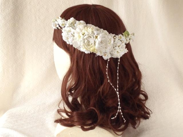 <受注制作>染め花のガーランドと髪飾りのセット(ホワイトグリーン)