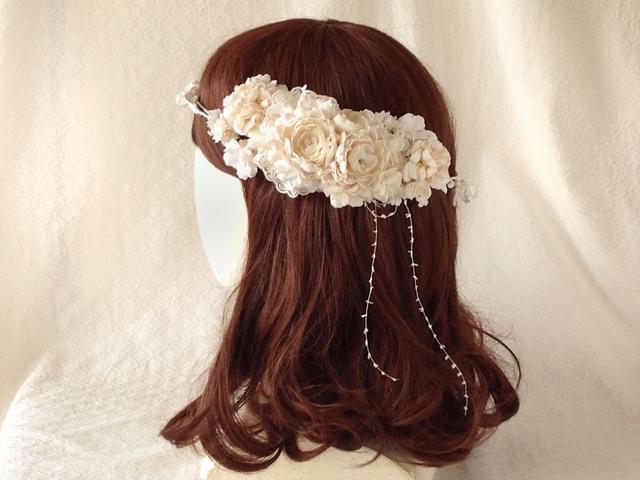 <受注制作>染め花のガーランドと髪飾りのセット(オフホワイト)