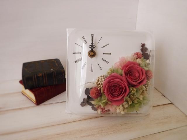 正方形flower時計(ピンク)