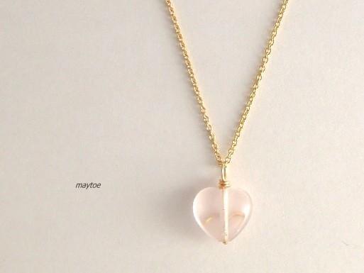 14kgfネックレス*ローズクォーツ*Heart