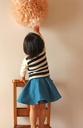【size120】キッズTシャツ太ボーダー(七分袖)