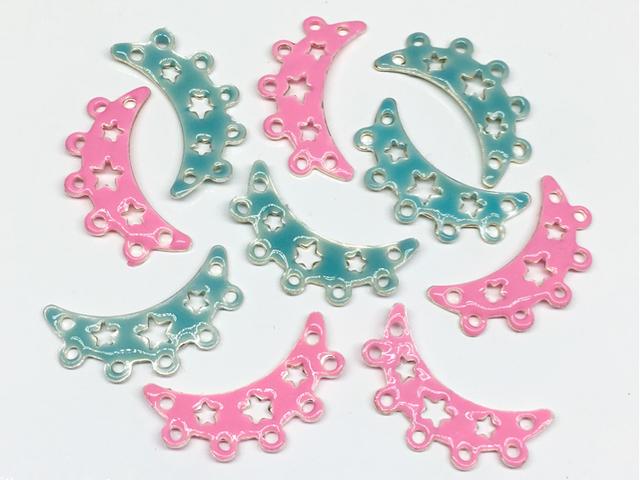 エナメルビーズ:連バー(星)ピンク×水色/各5コ=計10コ入り<27>