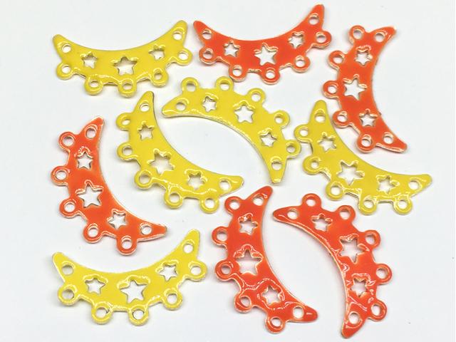 エナメルビーズ:連バー(星)イエロー×オレンジ/各5コ=計10コ入り<28>