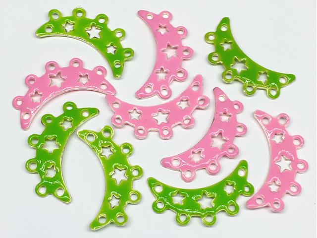 エナメルビーズ:連バー(星)ピンク×グリーン/各5コ=計10コ入り<30>