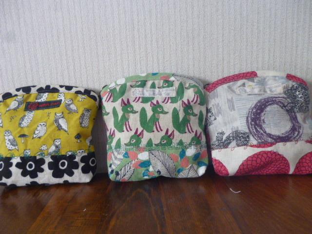 北欧調綿麻のパッチミシン刺繍ポーチ