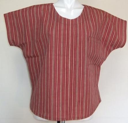 着物リメイク 綿紬の反物で作ったTシャツ 1378