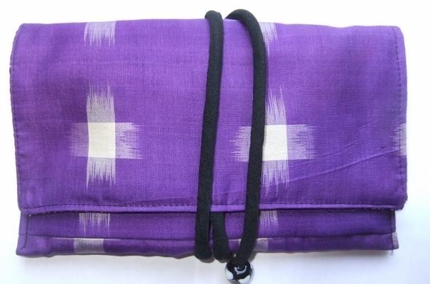 着物リメイク 銘仙の着物で作った和風財布 1379