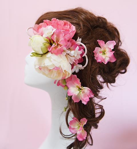 awa色和風花の髪かざり