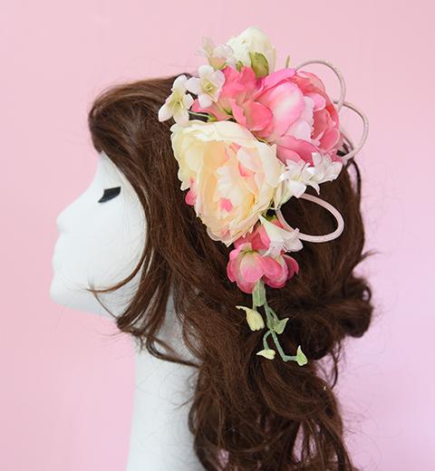 桜色の和洋花髪かざり