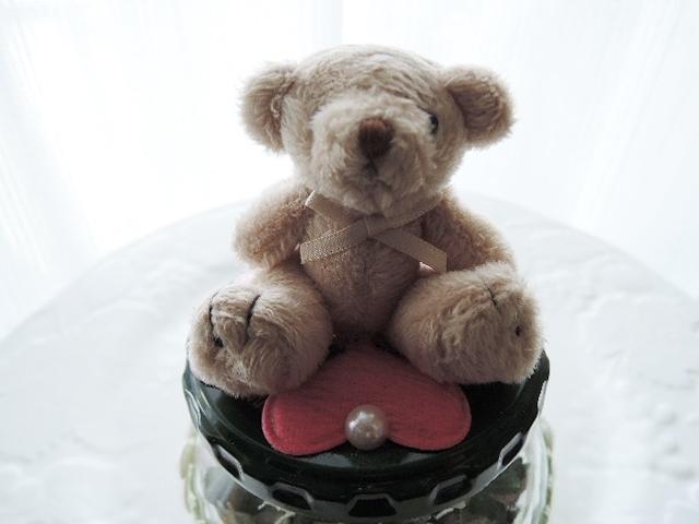 My Garden☆小瓶入り ドライフラワー リユース瓶☆可愛いくまちゃんのぬいぐるみ付きです(^^♪(1125)