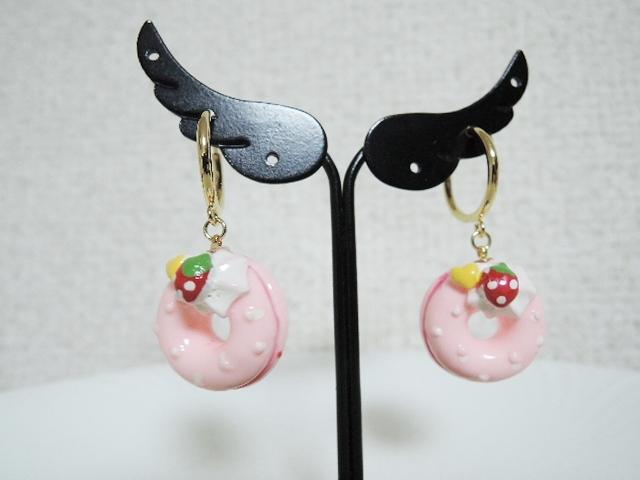 ☆ピンクのドーナツ☆フープイヤリング(229)