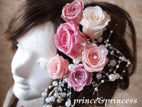 プリザーブド*髪飾り*ピンク系*
