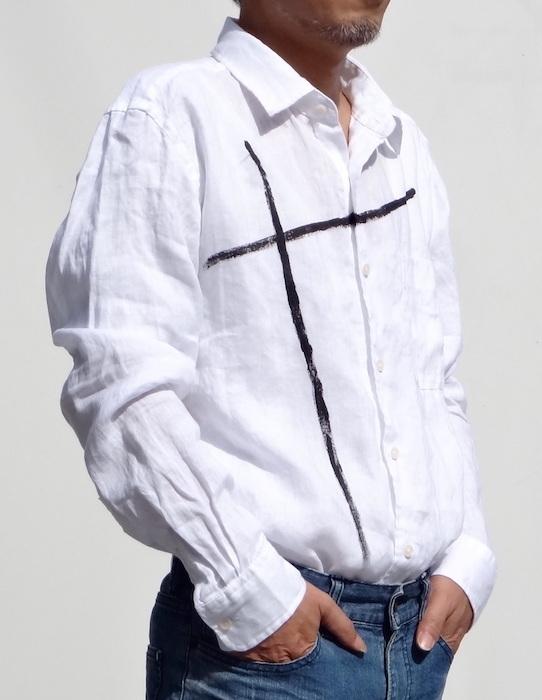 本麻白  クロス柄 メンズシャツ( 送料無料)