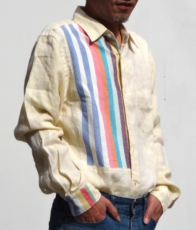 本麻黄色に綺麗なストライプをはめ込んだメンズシャツ( 送料無料)
