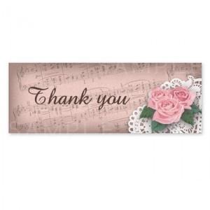 SH15 Thank youシール 〈ショップシールよこなが〉薔薇・楽譜とレース《ピンク01》☆A4サイズ 1シート36枚入り