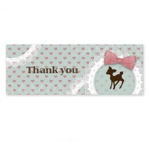 SH16 Thank youシール 〈ショップシールよこなが〉バンビシルエット ハートのドット《水色・Thank you》☆A4サイズ 1シート36枚入り
