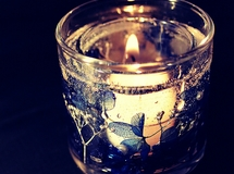 Happy Flower glass candle blue