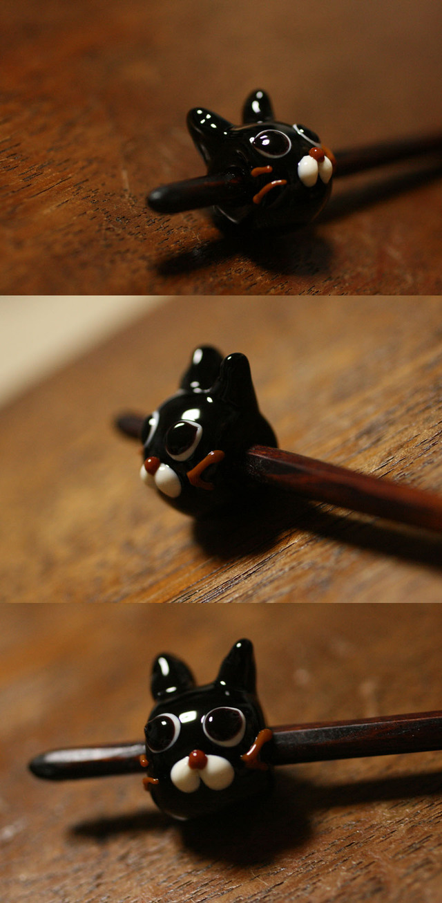 簪 黒猫っぽいとんぼ玉/うるし色 柄