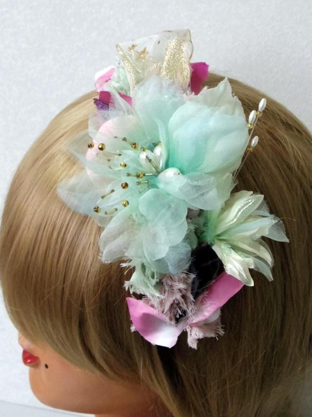 アンティーク風花びらとお花のカチューシャ  オリジナル