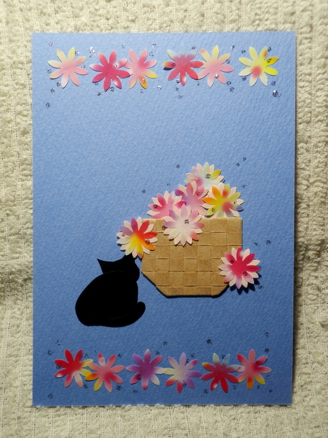 花かごと猫ーかくれんぼ